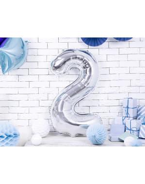 "Fóliový balónek číslo ""2"" stříbrný, 86 cm"