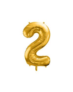 Номер «2» Фольга куля в золото, 86 см