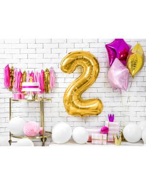 "Fóliový balónek číslo ""2"" zlatý, 86 cm"