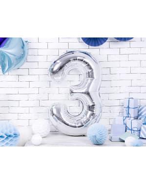 "Fóliový balónek číslo ""3"" stříbrný, 86 cm"