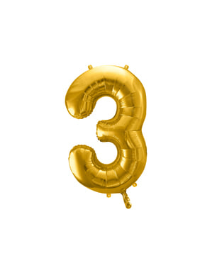 "Fóliový balónek číslo ""3"" zlatý, 86 cm"
