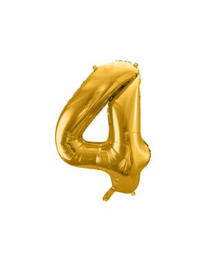 "Fóliový balónek číslo ""4"" zlatý, 86 cm"