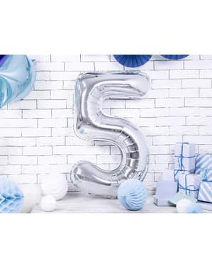 "Fóliový balónek číslo ""5"" stříbrný, 86 cm"