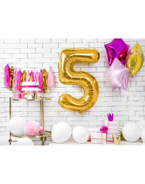 "Fóliový balónek číslo ""5"" zlatý, 86 cm"