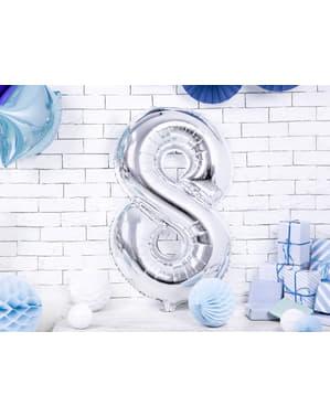 "Fóliový balónek číslo ""8"" stříbrný, 86 cm"