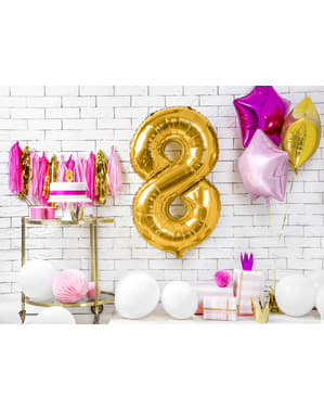 "Fóliový balónek číslo ""8"" zlatý, 86 cm"