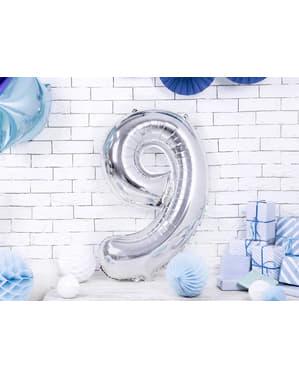 "Fóliový balónek číslo ""9"" stříbrný, 86 cm"