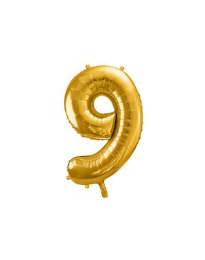 "Fóliový balónek číslo ""9"" zlatý, 86 cm"