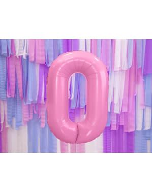 """Fóliový balónek číslo """"0"""" růžový, 86 cm"""