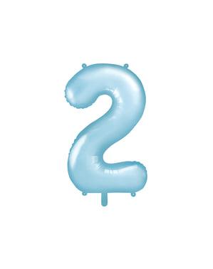 ライトブルーの数字「2」箔バルーン、86センチメートル