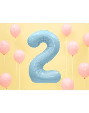"""Fóliový balónek číslo """"2"""" světlemodrý, 86 cm"""