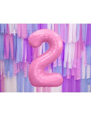 ピンクナンバー「2」箔バルーン、86センチメートル