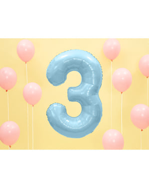 """Fóliový balónek číslo """"3"""" světlemodrý, 86 cm"""