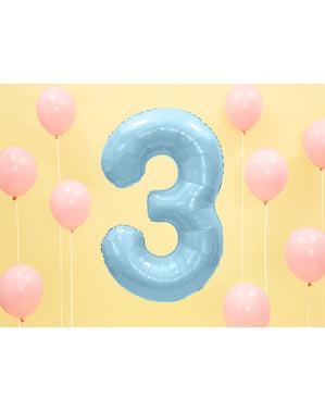 ライトブルーの数字「3」箔バルーン、86センチメートル