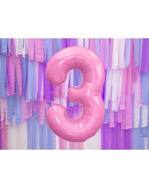 ピンクナンバー「3」箔バルーン、86センチメートル