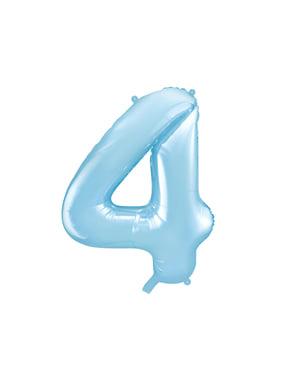 ライトブルーの数字「4」箔バルーン、86センチメートル