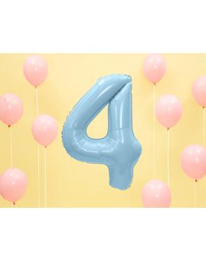 Номер «4» Фольга куля в світло-блакитний, 86 см