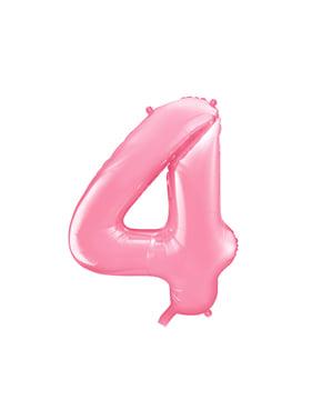 """Fóliový balónek číslo """"4"""" růžový, 86 cm"""