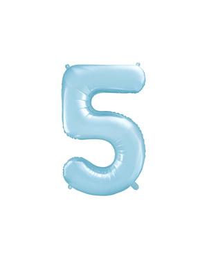 """Fóliový balónek číslo """"5"""" světlemodrý, 86 cm"""