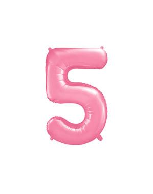 """Fóliový balónek číslo """"5"""" růžový, 86 cm"""