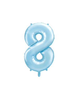 ライトブルーの数字「8」箔バルーン、86センチメートル