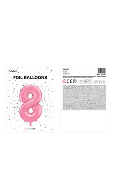 """Fóliový balónek číslo """"8"""" růžový, 86 cm"""