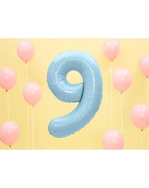 """Fóliový balónek číslo """"9"""" světlemodrý, 86 cm"""