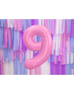 """Fóliový balónek číslo """"9"""" růžový, 86 cm"""