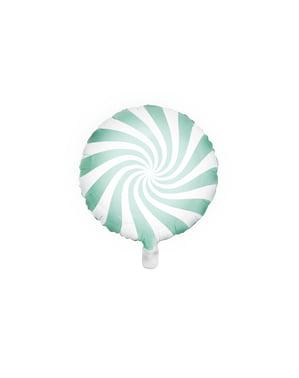 Folie ballon in de vorm van een bal in muntgroen