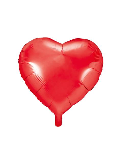 Balão em alumínio em forma de coração vermelho brilhante