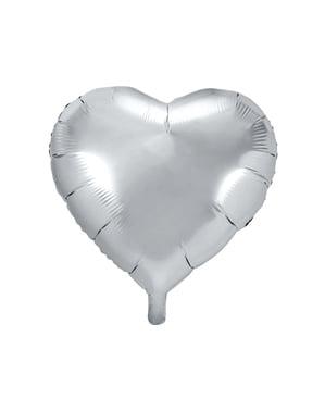 Sydämenmuotoinen folioilmapallo hopeisena