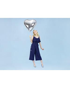 Foil balloon in the shape of a heart in silver