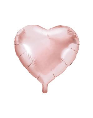 Folie ballon in de vorm van een hart in rosé goud