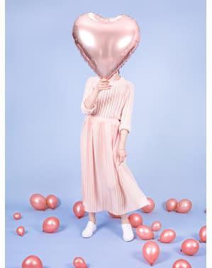 Sydämenmuotoinen folioilmapallo ruusunkultaisena