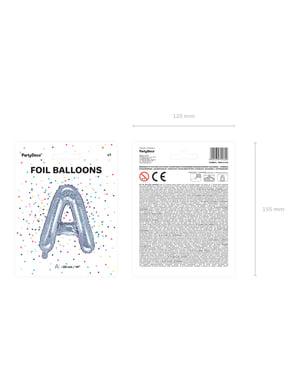 Fóliový balónek ve tvaru písmene A ve třpytivé stříbrné barvě