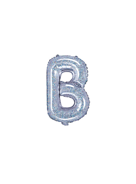 Globo foil letra B plateado con purpurina