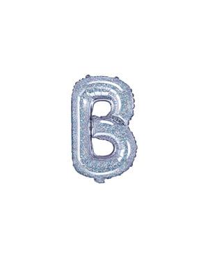 Balão foil letra B prateado com purpurina