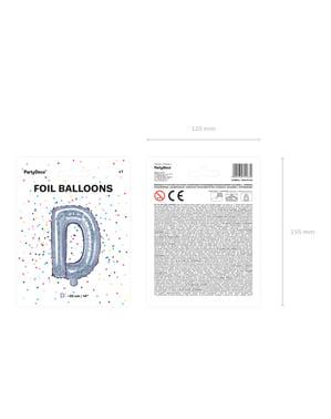 Fóliový balónek ve tvaru písmene D ve třpytivé stříbrné barvě
