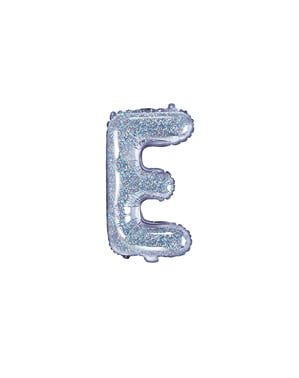 Fóliový balónek ve tvaru písmene E ve třpytivé stříbrné barvě