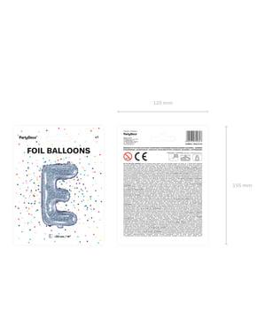 Brokatowy srebrny balon foliowy Litera E