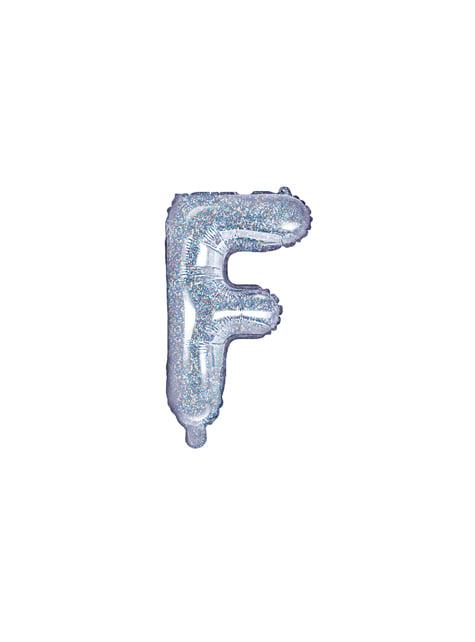 Globo foil letra F plateado con purpurina
