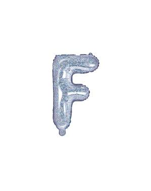 Fóliový balónek ve tvaru písmene F ve třpytivé stříbrné barvě