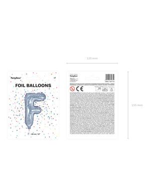 Balon folie litera F argintiu cu sclipici
