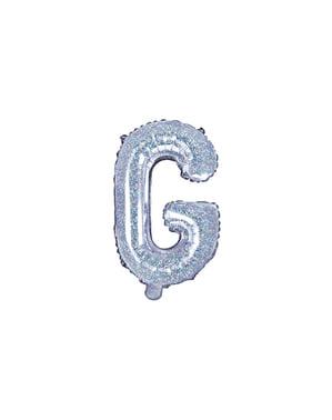 Fóliový balónek ve tvaru písmene G ve třpytivé stříbrné barvě
