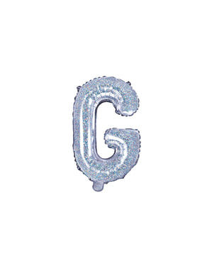 Globo foil letra G plateado con purpurina
