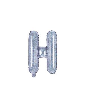 Balon folie litera H argintiu cu sclipici