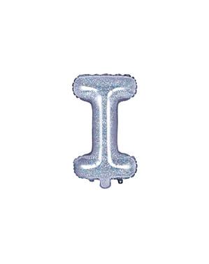 Balon folie litera I argintiu cu sclipici