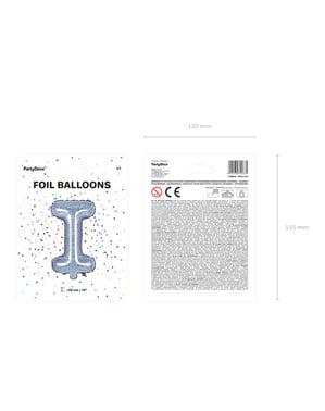 Fóliový balónek ve tvaru písmene I ve třpytivé stříbrné barvě