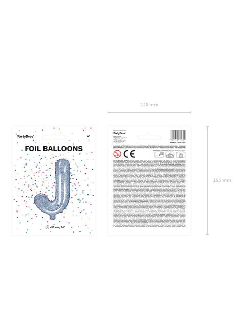 Globo foil letra J plateado con purpurina - para tus fiestas
