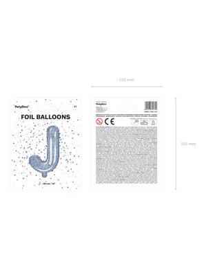 Fóliový balónek ve tvaru písmene J ve třpytivé stříbrné barvě